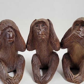 Wood Carved Mizaru, Kikazaru, and Iwazaru - Asian