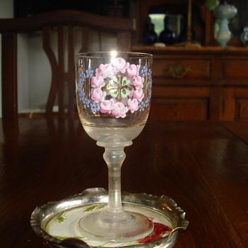 Antique Bohemian Enameled Art Glass small Goblet - Art Glass