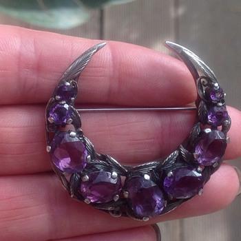 Silver Amethyst Brooch - Fine Jewelry