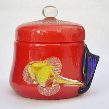 "Czech ""Tango"" covered jar with applied flower - Art Glass"