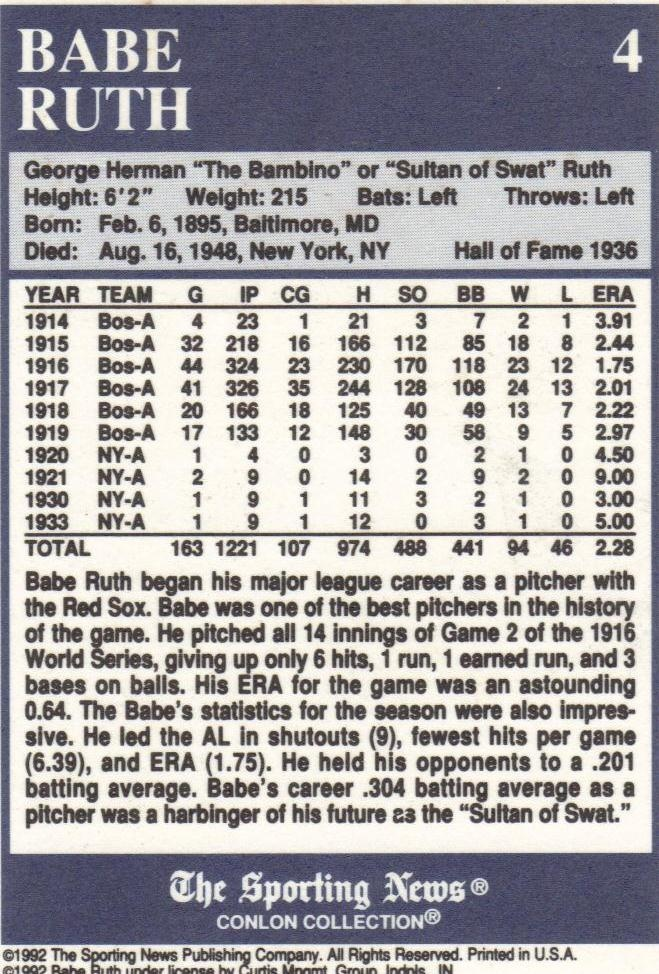 Babe Ruth Baseball Card Collectors Weekly