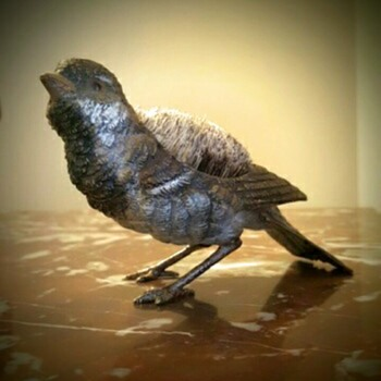 antique Vienna bronze sparrow. - Animals