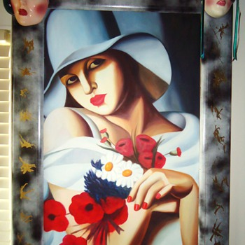 Folk art frame from old mirror!  painted by me!!  Boo Hoo!  Nobody likes it!  Mask by San Francisco Clay Arts Studio