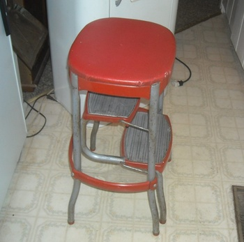 Vintage Cosco Kitchen Folding Step Stool With Bo Back