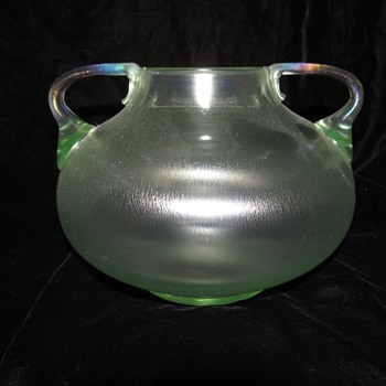 Loetz Olympia Handled Vase. - Art Glass