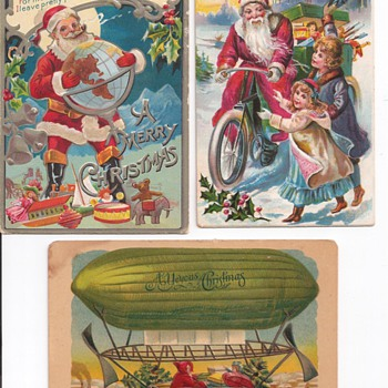 Santa In A Flying Green Pickle Boat - Postcards
