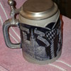 Cobalt blue & cream German flat lidded stein