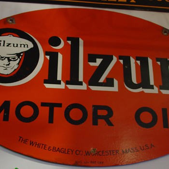Oilzum Motor Oil Sign...The White & Bagley Co. Worcester, Mass. U.S.A. - Signs