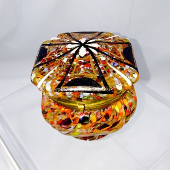 Czech Deco Spatter Enamelled Maltese Cross Dresser Box  - Art Glass