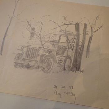 Vintage Camp Mccoy Pencil Drawing
