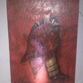 Abstract art on wood board
