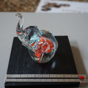 Elephant Art Glass Paper Weight - Animals