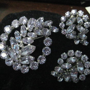 Sherman Brooch and Earrings - Costume Jewelry