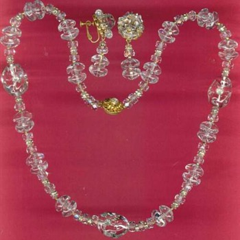 Vintage Miriam Haskell Clear Glass Crystal Necklace Set