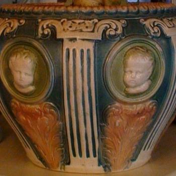 Roseville Cameo II Cupid Jardiniere 9X12 - Pottery