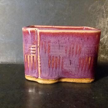 D A Wilfong match/toothpick/business card holder - Pottery