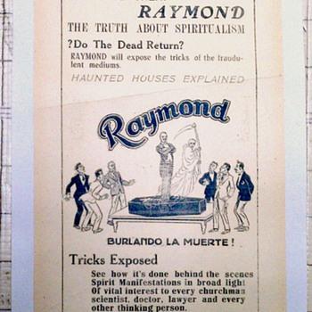 """The Great Raymond"" Original 1929 Handbill"