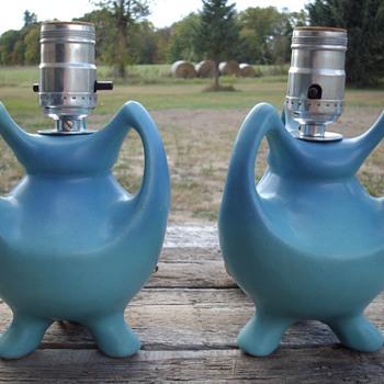 Van Briggle Art Pottery Tripod Handled Table Lamps. - Pottery