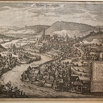 A 1640 Pictographic Map Engraving of Baden, Switzerland - Posters and Prints