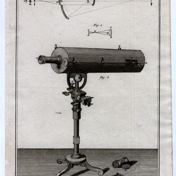 Telescope Circa 1770 copper plate print - Paper