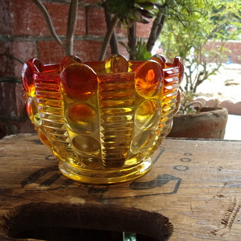 Amber Dot Glass Bowl - Glassware