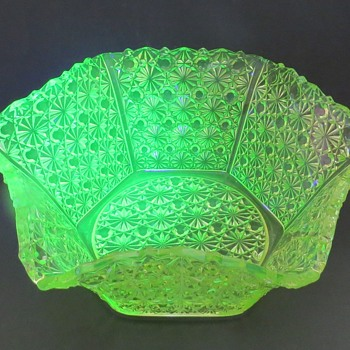 Pressed Glass Uranium Glass Bowl - Glassware