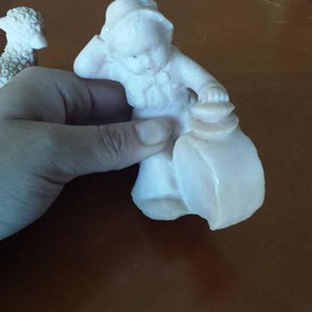 Chalkware/ Wax Figurine of Boy with Drum