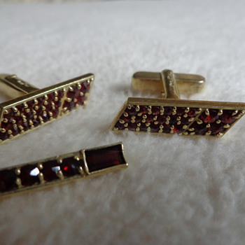 Vintage Sterling Cufflinks and Tie Clip with Garnets - Accessories
