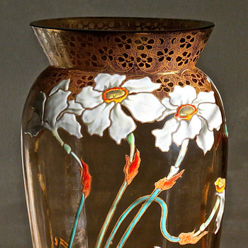 Moser Enameled Narcissus Vase c.1900 - Art Glass