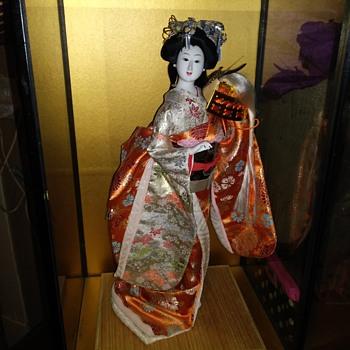 Intricate Antique Porcelain Geisha Dressed in silk - Dolls