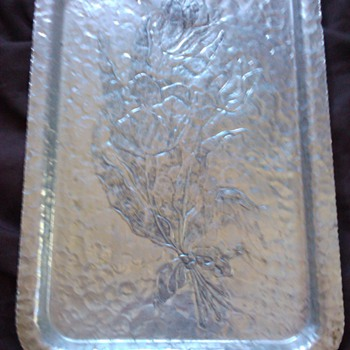 HELP - STERLING SILVER ROSE ETCHED TRAY  - Silver