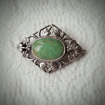 Arts and Crafts silver amazonite brooch, original case. - Fine Jewelry
