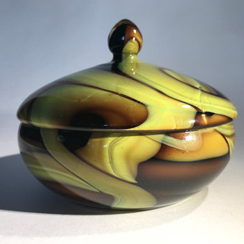 Kralik Green Webbed on Amber Candy Dish / Powder Bowl - Art Deco