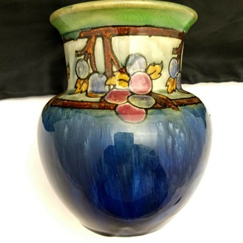 Royal Doulton Lambeth Ada Tosen and Christine Abbott Artist Fruit & Floral Vase - China and Dinnerware