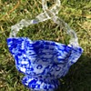 Victorian Welz cased cobalt blue controlled bubble/spatter glass basket