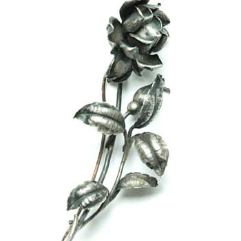 "early'1900 silver brooch ""rose de france"" by L. Lexcellent, ECOLE DE NANCY"