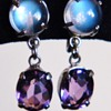 Vintage Deco Ceylon Moonstone Amethyst Binder Brothers Sterling Dangle Earrings