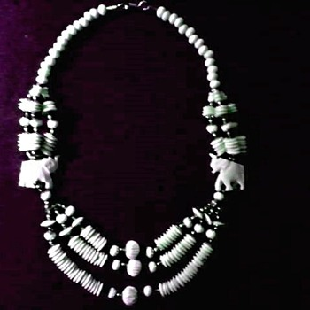 "Carved ""Faux"" Ivory Elephant and Multi Strand Bead Necklace/ Circa 20th Century - Costume Jewelry"