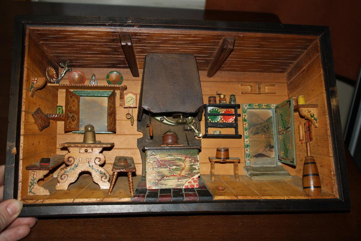 German Wedding Gifts: Grandparents Wedding Gift. An Antique German Shadowbox