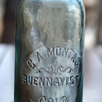 "G. A. Montag, ""Buennavista, Colo."" Hutchinson soda bottle, 1889"