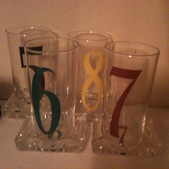 Numbered Glass Set with Ashtray Coaster - Glassware