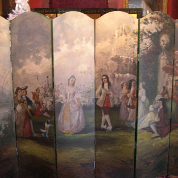 Large Victorian 6 Panel Folding Dressing Screen Hand Painted French Scene - Victorian Era