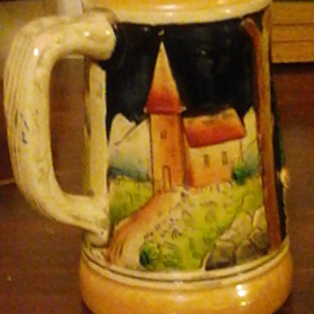 "My favorite vintage German Stein 6"" Made in West Germany in 40's. Beautiful Bavarian scenes with man resting and community."