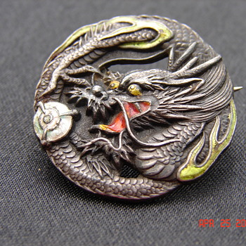 Beautiful Asian Silver Dragon Enamel Pin With C-clasp Antique