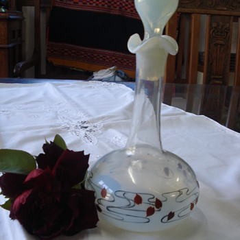 An art nouveau carafe hand painted - Art Glass