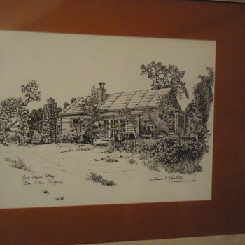 Original ink painting of Jack London's Cottage, He died here, Famous Wolf House burned down - Fine Art