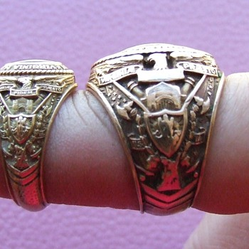 Matching Pair of Man's and Woman's 1937 V.M.I. Class Rings - Fine Jewelry