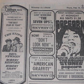 Movie advertisements from the Minneapolis Tribune in 1974 and 1980 - Advertising
