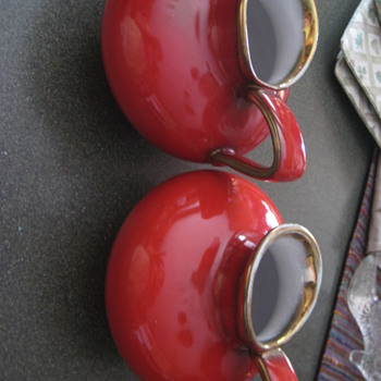 Red Pitcher-Wien-Keramos-Made in Austria X 2 - China and Dinnerware
