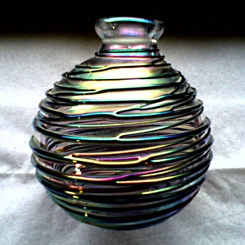 Beautiful Iridescent Threaded Glass Vase-Perfume Bottle / Unknown Maker and Age - Art Glass